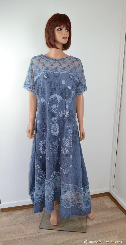 """Платья ручной работы. Ярмарка Мастеров - ручная работа. Купить Свободное Бохо платье синее  """" Le  bleu  ocean magnifique"""". Handmade."""