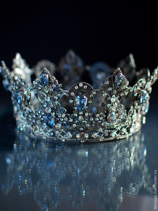 """Диадемы, обручи ручной работы. Ярмарка Мастеров - ручная работа. Купить Свадебная корона """"Blue Shade"""". Handmade. Серебряный"""