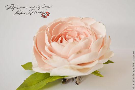 Броши ручной работы. Ярмарка Мастеров - ручная работа. Купить Брошь с английской розой. Handmade. Бледно-розовый, брошь