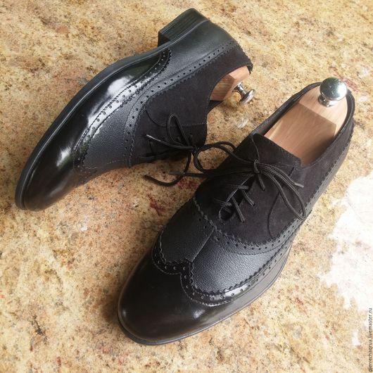 Обувь ручной работы. Ярмарка Мастеров - ручная работа. Купить Комбинированные мужские оксфорды Pierre Chaqrua. Handmade. Черный, лак