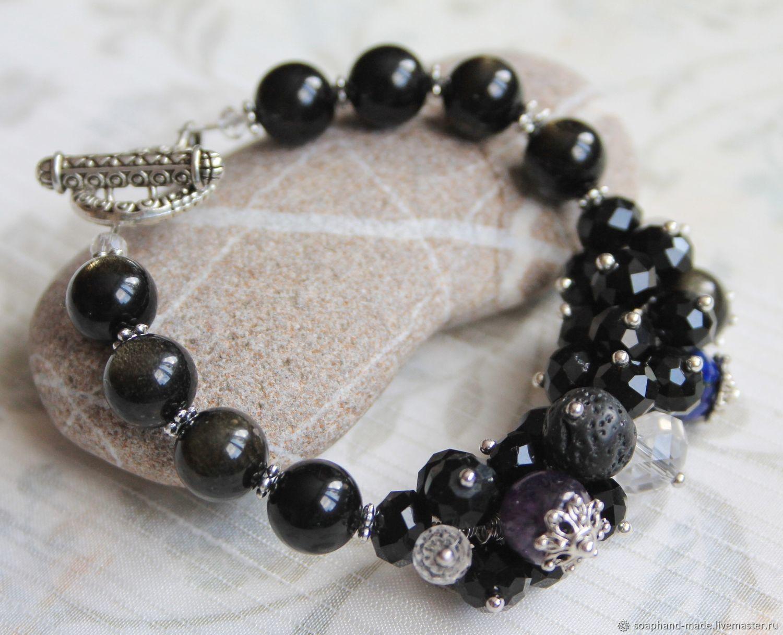 Bracelet bunch - onyx, amethyst, lapis lazuli, rock crystal and volcanic, Bead bracelet, Moscow,  Фото №1