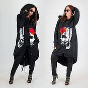 Одежда handmade. Livemaster - original item Black sweatshirt with hood - VE0911STR. Handmade.