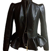 Одежда handmade. Livemaster - original item Leather jacket with peplum. Handmade.