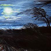 Картины и панно ручной работы. Ярмарка Мастеров - ручная работа Ветер осенней ночью. Авторская картина, масло.. Handmade.