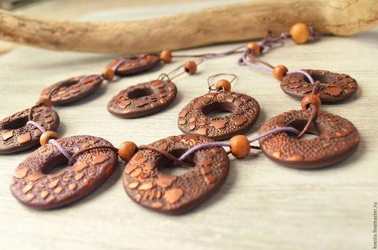 Колье, бусы ручной работы. Ярмарка Мастеров - ручная работа. Купить Колье и серьги из полимерной глины Хозяйка Медной горы. Handmade.