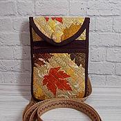 Сумки и аксессуары handmade. Livemaster - original item Phone bag, Autumn, Phone Case with Pocket, Eco. Handmade.