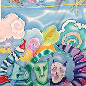 """Аксессуары ручной работы. Ярмарка Мастеров - ручная работа Шелковый шарф """"ПТИЧКИ ПОЮТ, А КОТИКАМ ГРУСТНО"""". Батик. Handmade."""