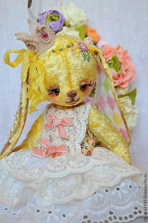 """Мишки Тедди ручной работы. Ярмарка Мастеров - ручная работа. Купить Зайка """"Гретта. Капризная принцесса"""". Handmade. Лимонный"""