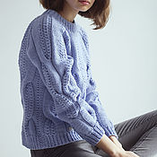 Одежда handmade. Livemaster - original item Jerseys: Women`s knitted Merino sweater in sky color. Handmade.