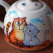 """Посуда ручной работы. Ярмарка Мастеров - ручная работа Чайник """"Сладкая парочка х 2"""" (0734). Handmade."""
