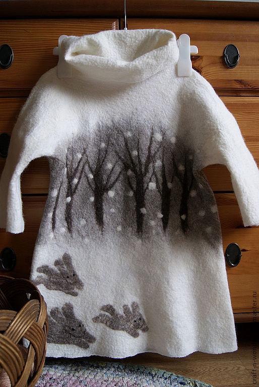 """Одежда для девочек, ручной работы. Ярмарка Мастеров - ручная работа. Купить Платье валяное детское """"Снеги белы"""". Handmade. Белый"""