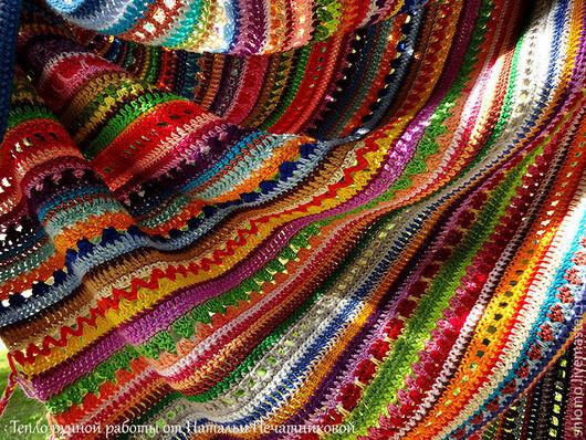 """Текстиль, ковры ручной работы. Ярмарка Мастеров - ручная работа. Купить Разноцветный вязаный плед """"Радуга с косичками"""". Хлопок.. Handmade."""