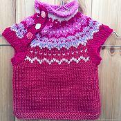 Работы для детей, handmade. Livemaster - original item Knitted vest Malinka`s (cashmere, Alpaca). Handmade.