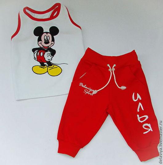 """Одежда для мальчиков, ручной работы. Ярмарка Мастеров - ручная работа. Купить Летний именной костюм для мальчика """"Микки"""" от Делавьи. Handmade."""