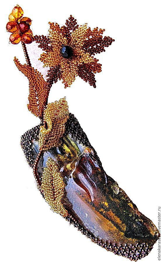 "Brooch ""The Christmas Star"" of beads with amber, Brooches, Moscow,  Фото №1"
