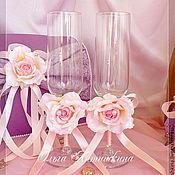 """Бокалы ручной работы. Ярмарка Мастеров - ручная работа Бокалы """"Роза в сирени"""". Handmade."""
