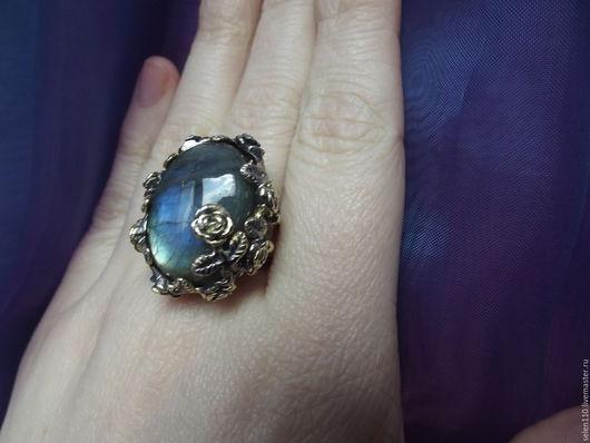 """Кольца ручной работы. Ярмарка Мастеров - ручная работа. Купить Крупное кольцо """"Магия ночи"""" с лабрадоритом.. Handmade. Синий"""