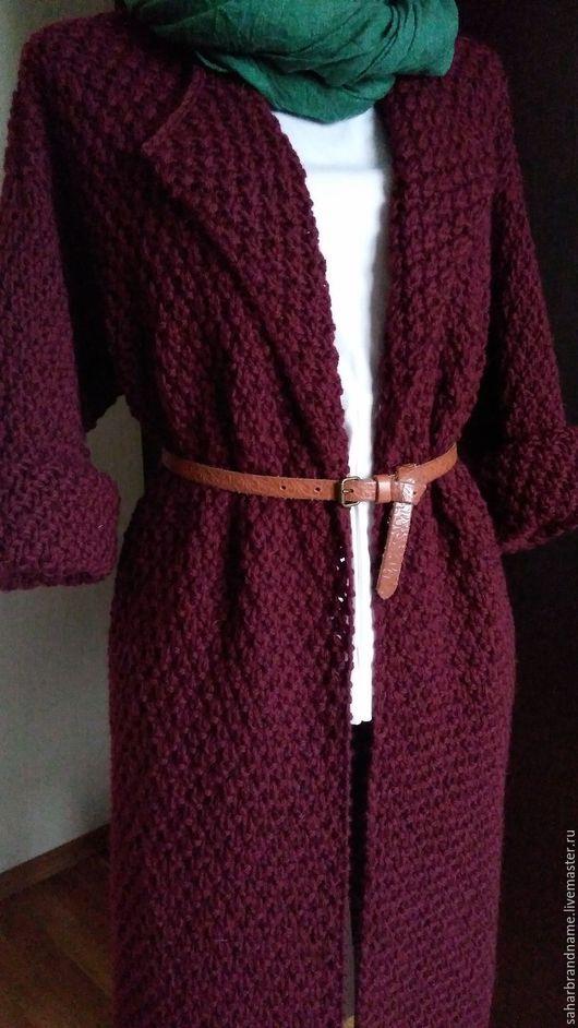 Верхняя одежда ручной работы. Ярмарка Мастеров - ручная работа. Купить Пальто вязаное классическое ручной работы. Handmade. Бордовый