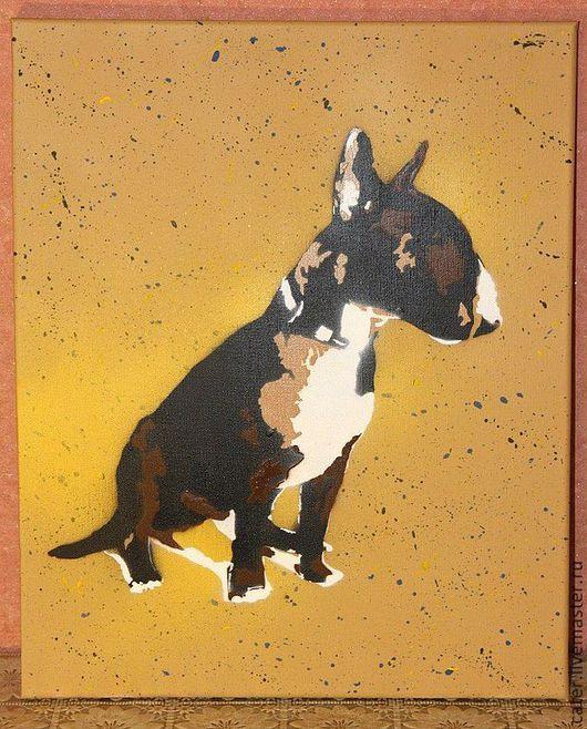 1. Высылаете фото домашнего животного. 2. Делаем эскиз в разных цветах. Согласовываем. 3. Доставляем портрет.