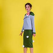 Одежда ручной работы. Ярмарка Мастеров - ручная работа Трикотажная юбка с помпонами. Handmade.