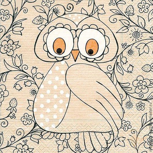 Декупаж и роспись ручной работы. Ярмарка Мастеров - ручная работа. Купить Миссис сова (21835) - салфетка для декупажа. Handmade. Разноцветный
