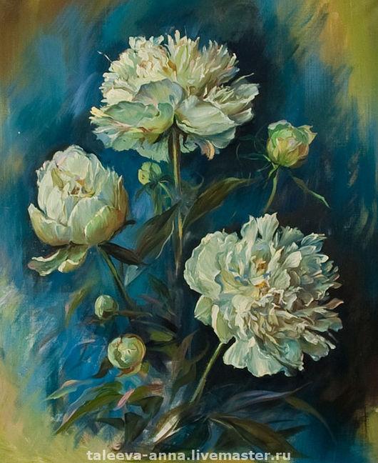 """Картины цветов ручной работы. Ярмарка Мастеров - ручная работа. Купить Холст """"Пионы"""". Handmade. Живопись, живопись с натуры, цветы"""