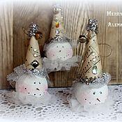Подарки к праздникам ручной работы. Ярмарка Мастеров - ручная работа Винтажные снеговики -подвески, новогодний декор. Handmade.