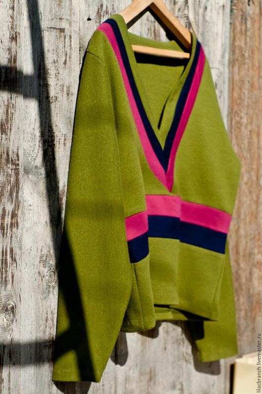 Кофты и свитера ручной работы. Ярмарка Мастеров - ручная работа. Купить Шерстяной пуловер в стиле Jonathan Saunders. Handmade. Хаки