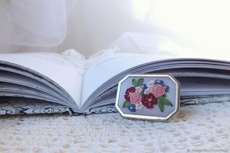 Брошь с вышивкой лентами Мой милый сад, Брошь-булавка, Санкт-Петербург,  Фото №1