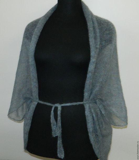 Кофты и свитера ручной работы. Ярмарка Мастеров - ручная работа. Купить Болеро-накидка из кид-мохера серо-голубой меланж. Handmade.