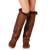 Обувь ручной работы handmade. Livemaster - original item STELLA brown / Leather sheepskin winter boots in BOHO style. Handmade.