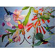 """Картины и панно handmade. Livemaster - original item """"Жизнь птиц"""", вышитая картина,  художественная гладь. Handmade."""