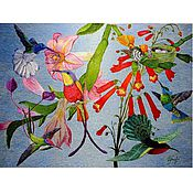 """Картины ручной работы. Ярмарка Мастеров - ручная работа """"Жизнь птиц"""", вышитая картина,  художественная гладь. Handmade."""