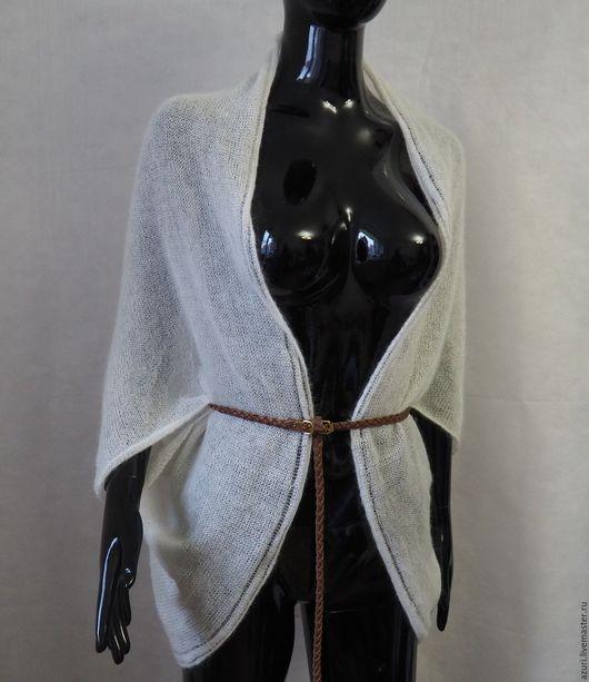 Пиджаки, жакеты ручной работы. Ярмарка Мастеров - ручная работа. Купить Болеро-накидка-шарф  из кид-мохера на шелке, белый. Handmade.
