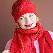 Аксессуары handmade. Livemaster - original item Women`s red felted hat. Handmade.