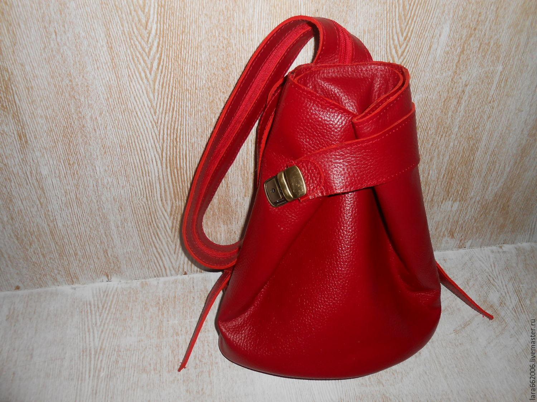 07a02c944007 Женская кожаная сумка рюкзак `Красный соблазн` , натуральная красная кожа,  сумка рюкзак из ...