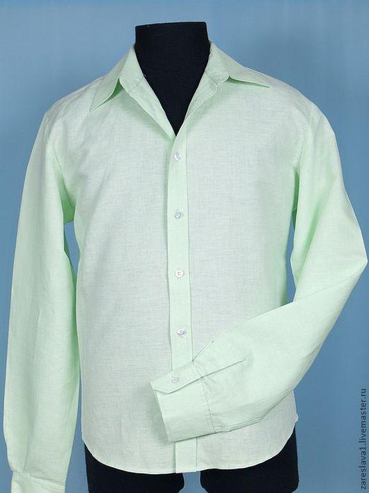 Для мужчин, ручной работы. Ярмарка Мастеров - ручная работа. Купить Рубашка льняная цветная. Handmade. Мятный, мужская одежда