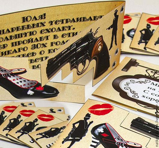 Пригласительные ручной работы. Ярмарка Мастеров - ручная работа. Купить Приглашение на гангстерскую вечеринку в стиле Чикаго 30х гг. Handmade.