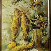 Pictures handmade. Livemaster - original item still life with fish. Handmade.
