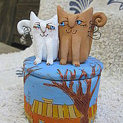 """Для дома и интерьера ручной работы. Ярмарка Мастеров - ручная работа шкатулка  """"Влюбленные кошки"""". Handmade."""