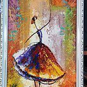 Картины ручной работы. Ярмарка Мастеров - ручная работа Картина рисованная маслом Балерины, в багете 85х35см. Handmade.
