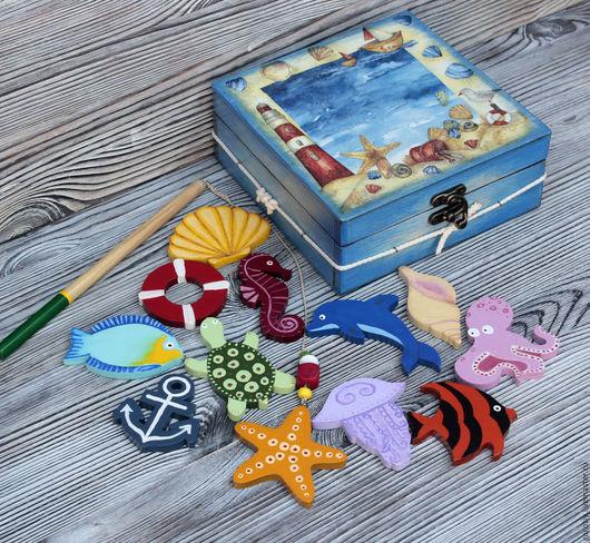 """Развивающие игрушки ручной работы. Ярмарка Мастеров - ручная работа. Купить Игровой набор """"Морская рыбалка"""". Handmade. Тёмно-синий"""