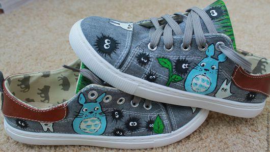 """Обувь ручной работы. Ярмарка Мастеров - ручная работа. Купить кеды с росписью """"Тоторо"""". Handmade. Комбинированный, рисунок на заказ"""