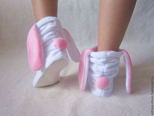 """Обувь ручной работы. Ярмарка Мастеров - ручная работа. Купить Тапочки-зайки  """"Зефир"""". Handmade. Белый, тапочки-зайчики, нежный"""