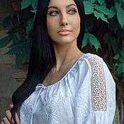 Одежда handmade. Livemaster - original item elegant white on white embroidered blouse