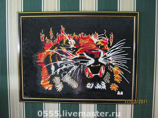 Животные ручной работы. Ярмарка Мастеров - ручная работа. Купить картина огненный тигр. Handmade. Тигр, гороскоп, бисер
