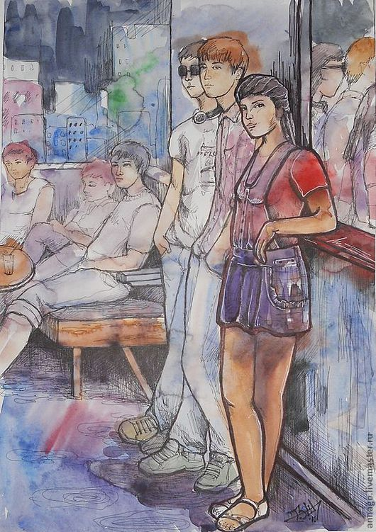 """Люди, ручной работы. Ярмарка Мастеров - ручная работа. Купить Декоративный рисунок """"В клубе"""". Handmade. Рисунок акварелью"""