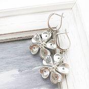 Украшения handmade. Livemaster - original item Earrings flower silver English lock - flowers grey silver. Handmade.