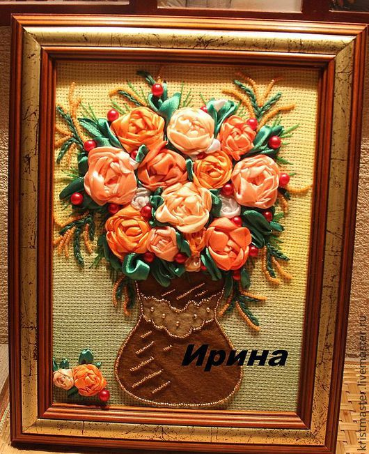 Высота с рамой 29см, ширина 23см. Работа выполнена из атласных лент, бисера и фетра.  Рамка подчеркивает яркость и выразительность цветов. Будет замечательным украшением вашего дома.