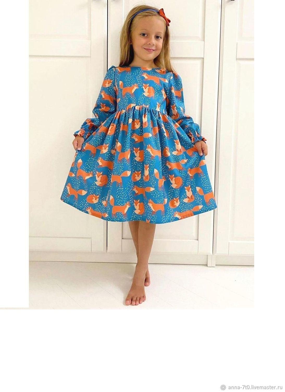 """Платье  """"Лисички на снегу"""" синее, хлопок, Платье, Самара,  Фото №1"""